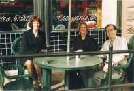 AFCI members Pam, Joy and Tom taking a break at the now-closed French Cafe in Omaha, during a trip to the Joslyn Art Museum and the old town.